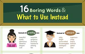 16 boring words what to use instead infographic